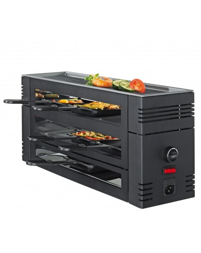 Spring: PizzaRaclette6 with Aluminium Grill Plate, Black