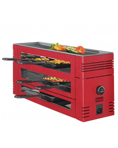 Spring: PizzaRaclette6 with Aluminium Grill Plate, Red
