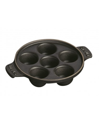 Staub: Snail dish with 6 holes, black
