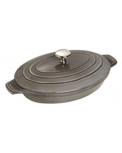 Staub: Oval Covered Casserole Dish,  23 x 17 cm, Graphite Grey