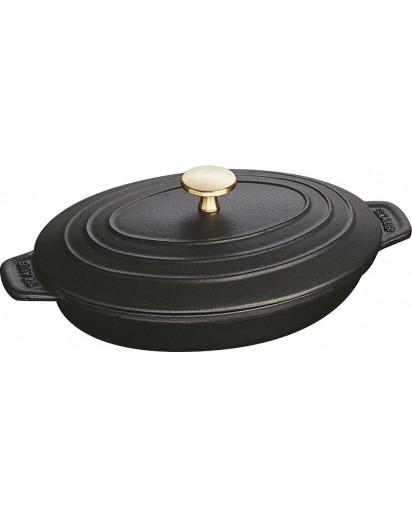 Staub: Oval Covered Casserole Dish, 23 x 17 cm, Black