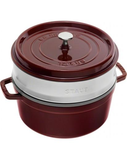 Staub: Round cocotte with steamer insert, 26 cm, grenadine red