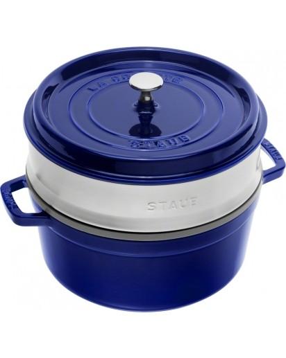 Staub: Round cocotte with steamer insert, 26 cm, dark blue