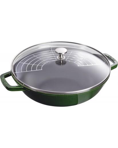 Staub: Wok with glass lid, 30 cm, basil