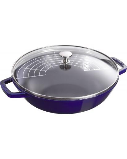 Staub: Wok with glass lid, 30 cm, dark blue