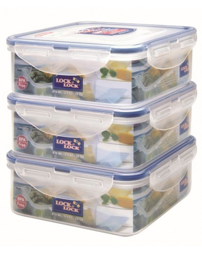 Lock & Lock: 3 x Container Square 870 ml (HPL823O3)