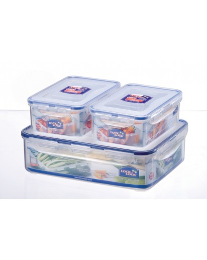 Lock & Lock: 3-Piece Set Containers Rectangular (HPL834SB)