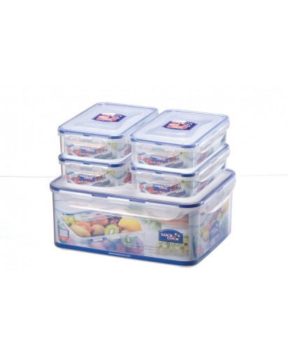 Lock & Lock: 5-Piece Set Containers Rectangular (HPL836SA)