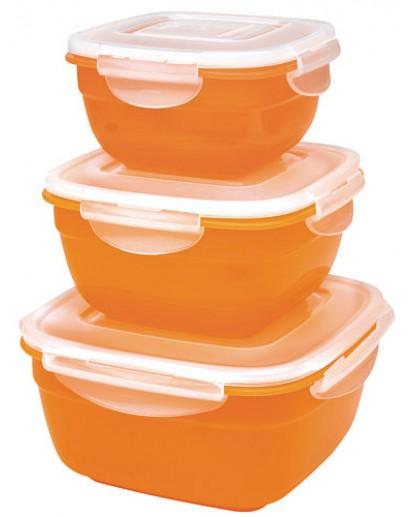 Lock & Lock: 3-Piece Container Set Square Orange (HSM8450PSO3)