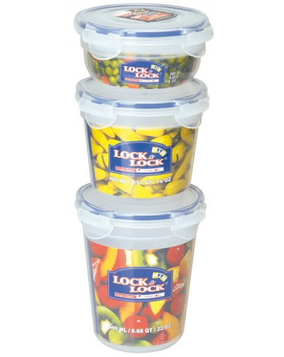 Lock & Lock: 3-Piece Container Set Round (HSM9140S3)