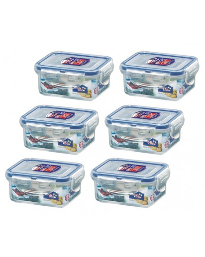 Lock & Lock: 6 x Container Rectangular 180 ml (HPL805/6)