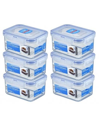 LocknLock: 6 x Container Rectangular 470 ml (HPL807/6)