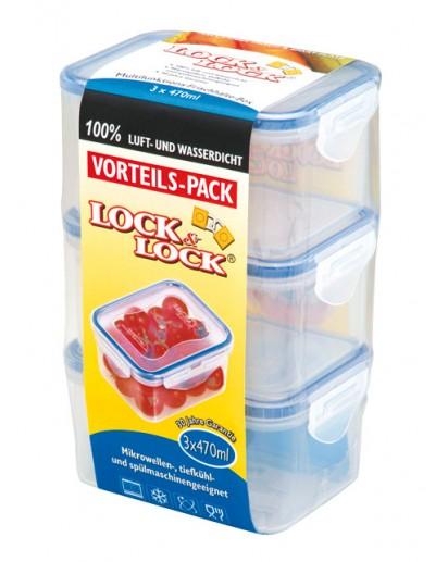 Lock & Lock: 3 x Container Rectangular 470 ml (HPL8070LT3)