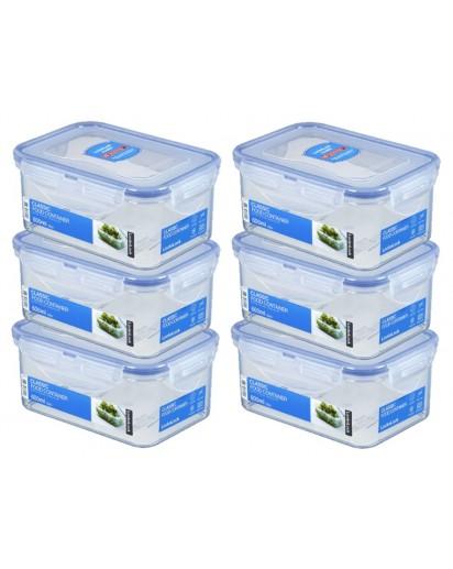 LocknLock: 6 x Container Rectangular 600 ml (HPL811/6)
