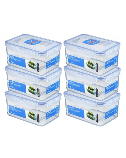 LocknLock: 6 x Container Rectangular 1.1 l (HPL815D/6)
