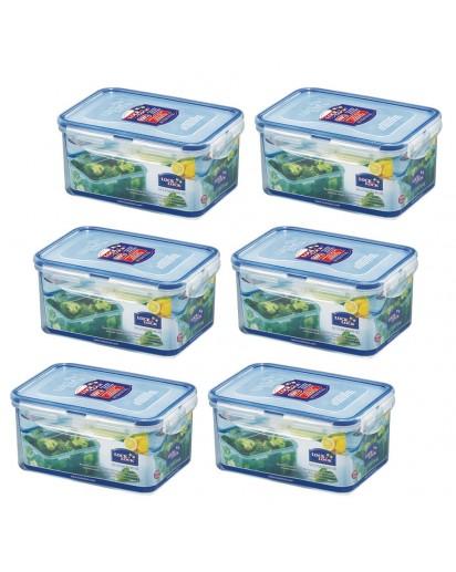 Lock & Lock: 6 x Container Rectangular 1.1 l (HPL815D/6)