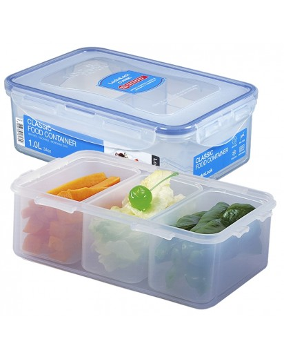 LocknLock: Container Rectangular with 3 Insets 1.0 l (HPL817C-B)