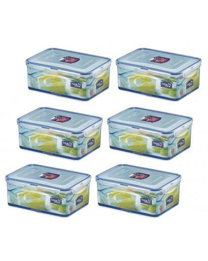 Lock & Lock: 6 x Container Rectangular 2.3 l (HPL825/6)