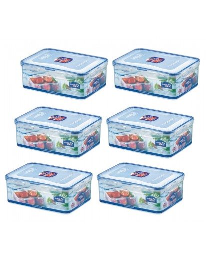 Lock & Lock: 6 x Container Rectangular 2.6 l (HPL826/6)