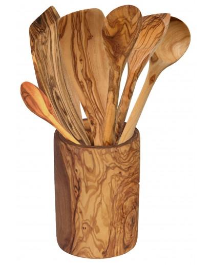 Set 6 Cooking Utensils & Holder Olive Wood