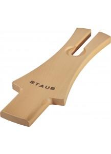 Staub: Deckelhalter aus Holz, 24 cm