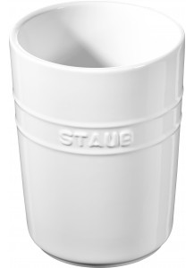 Staub: Küchenutensilienhalter, rund, 11 cm, weiß