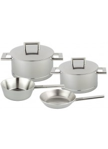 Demeyere: Four piece set John Pawson (two pots, conical sauteuse, and frying pan)