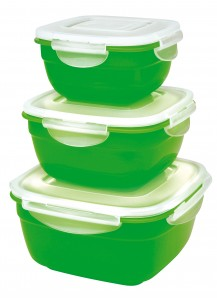 Lock & Lock: 3-Piece Container Set Square Green (HSM8450PSG3)