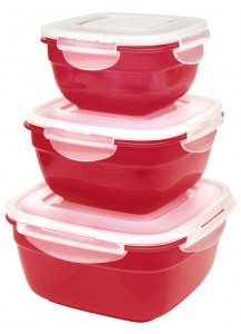 Lock & Lock: 3-Piece Container Set Square Red (HSM8450PSR3)