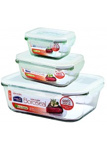 Lock & Lock: Set Containers Boroseal Rectangular (LLG455S3K)