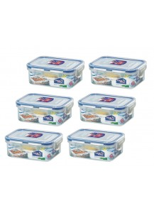 Lock & Lock: 6 x Container Rectangular 350 ml (HPL806/6)