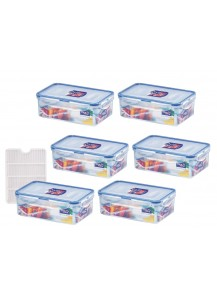 Lock & Lock: 6 x Multi-Use Food-Storage Box with Drain Grate 1.0 l (HPL817TS6)