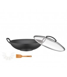 Spring: Cast-Iron Wok with Glass Lid and Accessories