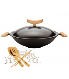 Spring: Cast-Iron Wok with Lid and Accessories