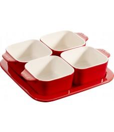 Staub: Tapas Set 5-tlg. aus Keramik, quadratisch
