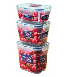 Lock & Lock: 3-Piece Set Containers Rectangular Nestable (HPL313S3)