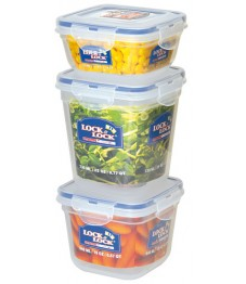 Lock & Lock: 3-Piece Set Containers Square (HSM8240S3)