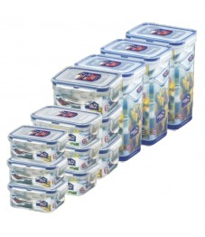 Lock & Lock: 12-Piece Set Rectangular Containers (HPL805S12)
