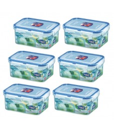 Lock & Lock: 6 x Container Rectangular 600 ml (HPL811/6)